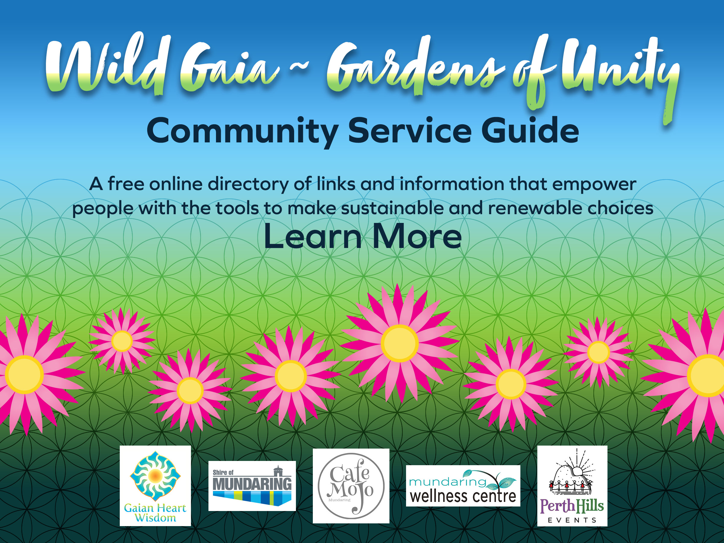 Wild Gaia - Gardens of Unity Community Service Guide. A free online directory of links and information that empower people with the tools to make sustainable and renewable choices.